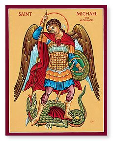 St. Michael the Archangel, defend us in the day of battle; be our safeguard against the wickedness and snares of the devil. May GOD rebuke him, we humbly pray and do thou, O' Prince of the Heavenly Host, by the Power of GOD, cast into hell satan and all the other evil spirits, who prowl throughout the world, seeking the ruin of souls, Amen.