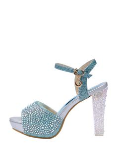 Glow Crystals Bright Color Peep Toe Thick Heel Fashion Sandals & Sandals - at Jollychic