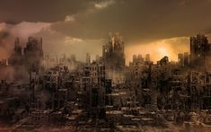 Illustration about Dark apocalyptic view of a city. Illustration of landscape, gloomy, smoke - 38777324 Utopia Dystopia, Broken City, Street Magic, City Drawing, City Aesthetic, City Illustration, City Architecture, End Of The World, Birds In Flight