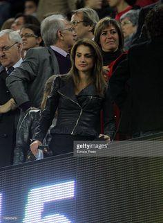 Queen Rania of Jordania attends a Liga match between Barcelona and Villarreal CF…