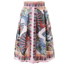 Vintage Tribal Print High Waist Midi Skirt Pleated Skirt