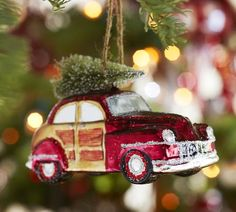 Woody Car Glass Ornament | Pottery Barn; every year we add a new glass ornament to the tree; I love this one