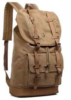 #Canvas Travel #Leather Laptop School #Backpack