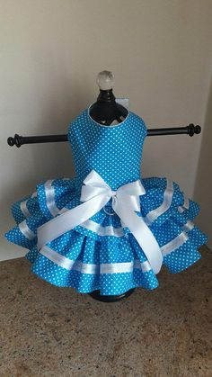 PLEASE MAKE YOUR PAYMENY USING PAYPAL ONLY (I CANT UPGRADE MY EUROPEAN BANK INFO eTSY HAVE TO WORK ON IT ) Dog Dress Designed and Made by Ninas Couture Closet - Made out of high quality cotton - The top is lined with cotton fabric so its soft for your babies - Its double skirted - D ring for easy leash attachment - Velcro closing around the neck and girth - Decorated with satin ribbon - From Smoke Free Home -Created ,Designed and Handmade In Europe Custom orders and sizes always welcome…
