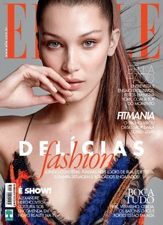 Bella Hadid strikes a pose in Versace for Elle Brazil's February 2016 cover by Max Abadian [cover] Fashion Director @ ELLE Brasil