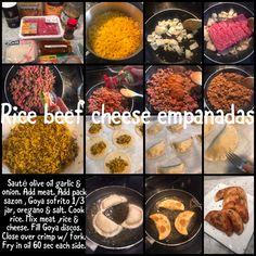 Sauté olive oil garlic & onion. Add meat. Add pack sazon , Goya sofrito 1/3 jar, oregano & salt. Cook rice. Mix meat ,rice & cheese. Fill Goya discos. Close over crimp w/ fork. Fry in oil 60 sec each side. Empanadas, Allrecipes, Fork, Love Food, Olive Oil, Onion, Fries, Garlic, Dinner Recipes