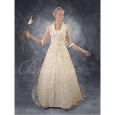 A-line Strapless Lace Overcoat Satin Wedding Dress. Strange, but fantastic.