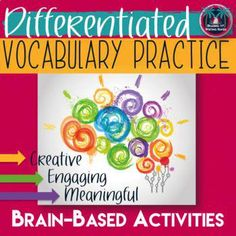 Differentiated Vocabulary Practice Task Cards and Assignments for Any Word List - make vocabulary words resonate with students. Vocabulary Strategies, Vocabulary Instruction, Teaching Vocabulary, Vocabulary Practice, Differentiated Instruction, Vocabulary Activities, Vocabulary Words, Academic Vocabulary, Listening Activities