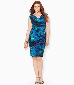 Lauren Ralph Lauren Woman Floral Cowlneck Sheath Dress