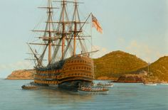 """HMS Victory at Anchor in Antigua 1805;  Oil on canvas 20"""" x 30"""" 2009;  HMS Victory offloading troops in an English harbor, Antigua, prior to returning home for the battle of Trafalgar, 1805."""