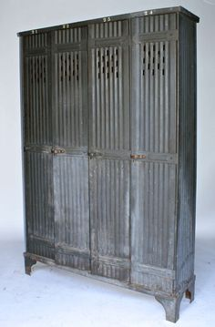 Vintage French Zinc Lockers | From a unique collection of antique and modern wardrobes and armoires at https://www.1stdibs.com/furniture/storage-case-pieces/wardrobes-armoires/