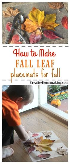 One of my favorite fall crafts for kids! Placemats made from fall leaves are a fun Thanksgiving craft activity for kids of all ages. Placemats made from fall leaves are a fun Thanksgiving craft activity for kids of all ages. Fall Activities For Toddlers, Thanksgiving Activities For Kids, Preschool Activities, Easy Fall Crafts, Fall Crafts For Kids, Kid Crafts, Toddler Crafts, Thanksgiving Placemats, Thanksgiving Decorations