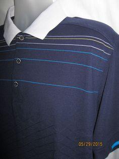 Mens CALLAWAY X SERIES Blue Golf Polo Shirt Short Sleeve Striped Cotton Blend XL #Callaway #PoloRugby