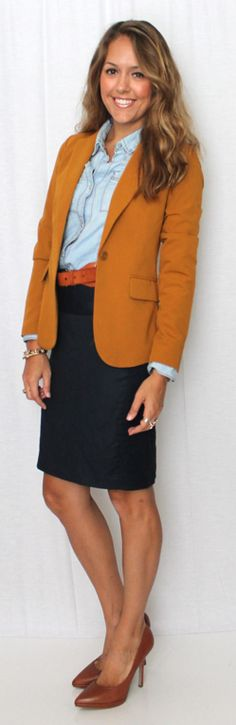 J's Everyday Fashion: Camel Blazer & Chambray.. Has chambray always been this versatile?