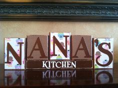 NANA'S KITCHEN Wood Block Sign..such a cute idea for Luke's mom.  Seller can change the scrapbook paper to match her kitchen.  via Etsy.
