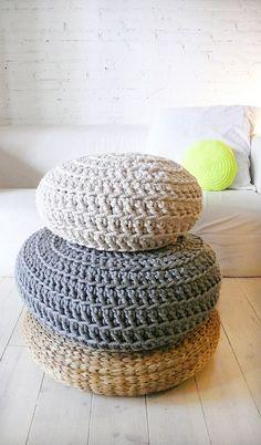 Plancher coussin Crochet  coton épais  Ecru par lacasadecoto