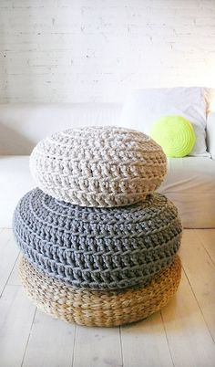Floor Cushion Crochet  Thick Cotton   Ecru by lacasadecoto on Etsy, €65.00