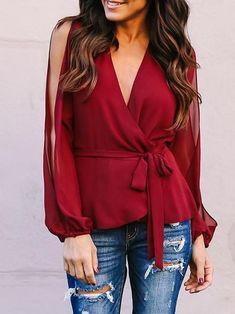 Cross V-neck Loose Off-Shoulder Long-sleeved Chiffon Blouse Rock Chic, Rocker, Long Blouse, Fashion Sewing, Chiffon Tops, Chiffon Blouses, Women's Summer Fashion, Long Sleeve Sweater, Blouse Designs