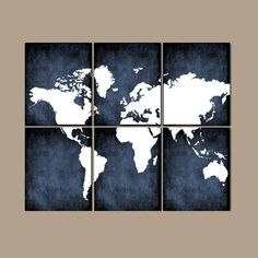 WORLD MAP Wall Art Bedroom Artwork Home Decor Grunge Effect Custom Colors Desk Office Library Room Set of 6 Prints ★Includes 6 unframed prints Bedroom Canvas, Bedroom Artwork, Nursery Canvas, Canvas Home, Bedroom Wall, Gray Bedroom, Office Artwork, Office Wall Art, Desk Office