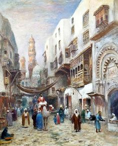 Egyptian Street Scene In Old Cairo  By Franz Wilhelm Odelmark (1849-1937 Sweden) Oil On Canvas 37'' x 30""