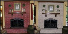 Fireplace Decorating: Complete Brick Fireplace Makeover Before My Company Arrived In Town Brick Fireplace Redo, Painted Brick Fireplaces, Fireplace Update, Fireplace Remodel, Fireplace Design, Fireplace Ideas, Fireplace Makeovers, Mantel Ideas, Fireplace Mantel