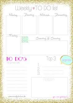 To Do list printable - fabulous weekly To Do list in german (deutsch). Just get it done!