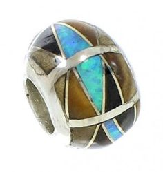 Multicolor Inlay Sterling Silver Bead Pendant DW73036