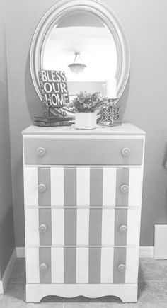 Do you want to paint stripes on a dresser? The author offers a step-by-step process for painting stripes on a dresser or any piece of furniture. Refurbished Furniture, Paint Furniture, Furniture Makeover, Stenciling Furniture, Furniture Refinishing, Repurposed Furniture, Bedroom Furniture, Striped Dresser, Striped Furniture