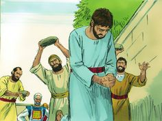 They took off their coats and put them at the feet of a man called Saul. Then they started hurling large stones at Stephen. – Slide 15