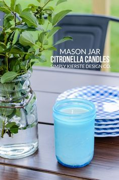 How to Make Farmhouse Style Mason Jar Citronella Candles | simplykierste.com | Learn how to easily make your own Mason Jar Citronella Candles! They're super cute, plus help keep all those backyard bugs away on summer nights!