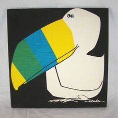 Vintage SCUDA Toucan Fabric Panel Art 60s Danish Midcentury Modern
