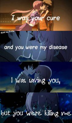 Mirai Nikki Yuno and Yukki's relationship in a nutshell! Anime W, Anime Love, Kawaii Anime, Yandere Manga, Mirai Nikki Future Diary, Yuno Gasai, Sad Anime Quotes, Ex Machina, Anime People