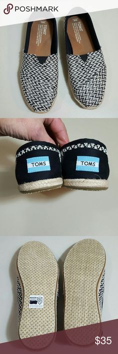 New TOMS New Adorable Black and White  NO TRADES PLEASE  NO MODELING  FIRM PRICE TOMS Shoes Flats & Loafers