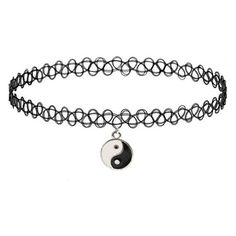 GirlPROPS Stretch Tattoo Choker Necklace with Yin Yang Charm, Popular in the in Black with Silver Tone finish Tattoo Choker Necklace, Black Choker Necklace, Jewelry Tattoo, Choker Jewelry, Choker Necklaces, Pendant Necklace, 90s Jewelry, Cheap Fashion Jewelry, Black Jewelry