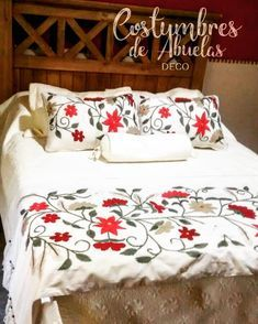 Cushion Embroidery, Hand Embroidery, Quilt Bedding, Bedspread, Designer Bed Sheets, Bed Pillows, Cushions, How To Dress A Bed, Decorative Throws