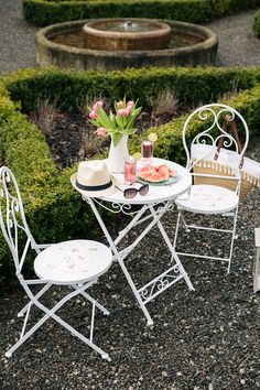 Florence Mosaic Bistro Set : The Florence Mosaic 3 Piece Bistro Set includes 1 x Round Bistro Table and 2 x Folding Chairs. The bistro set is perfect for sharing an ou Outside Furniture, Garden Furniture, Outdoor Furniture Sets, Courtyard Gardens, Outdoor Gardens, Outdoor Spaces, Outdoor Living, Outdoor Decor, Tiered Planter