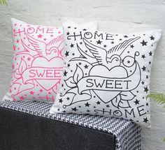 'home sweet home' tattoo print cushion by spdesign | notonthehighstreet.com
