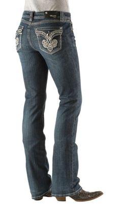 17a24703672 Grace in LA Thick Stitch Bejeweled Fleur-de-lis Pocket Boot Cut Jeans - 33