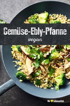 Auch wenn noch etwas unbekannt: Ebly als Zutat in Gemüsepfannen solltest du unbedingt einmal ausprobieren! Unsere Variante einer Gemüse-Ebly-Pfanne ist dazu noch vegan. #edeka #vegan #ebly #gemüse #rezept Cooking, Foods, Easy Meals, Kitchen, Brewing, Cuisine, Cook