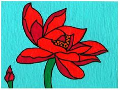 ACEO Nr. 15  Red Flower... original painting acrylic on by Pepponi, €10.00