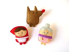 Little Red Riding Hood cute felt brooches set, fairy tale characters, little doll plush brooch, gift idea for girls by ovejitabe on Etsy, €20.00
