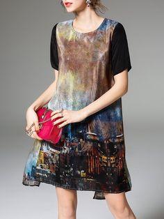#AdoreWe #StyleWe Dresses - ELENYUN Black H-line Casual Printed Mini Dress - AdoreWe.net