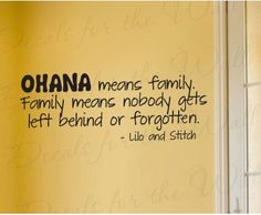 Lilo and Stitch Ohana Family Wall Decal Quote