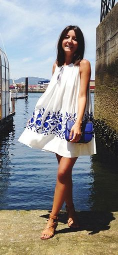 swing dress with cobalt print