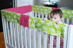 turn bumpers into crib rail covers  I don't have bumpers now but maybe eventually we could do this! Good idea.