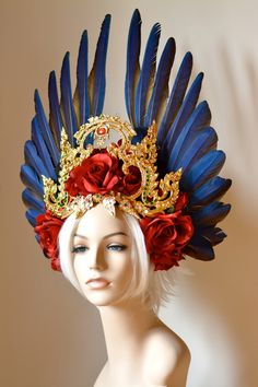 Kinaree Headdress, blue macaw wing feathers, red roses and gold Thai adornments, royal fantasy goddess costume piece by Serpentfeathers on Etsy https://www.etsy.com/listing/269449079/kinaree-headdress-blue-macaw-wing