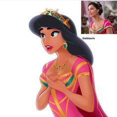 Princess Jasmine in her new princess clothing from Disney's live action movie, Aladdin Disney Pixar, Disney Memes, Disney Fan Art, Disney And Dreamworks, Disney Animation, Disney Magic, Disney Characters, Punk Disney, Aladdin Live