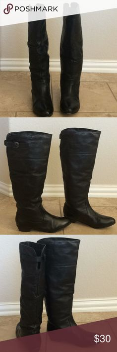 Leather Boots This Steve Madden Craave leather boots are slightly worn, size 7M low-heel knee-high boot, Black in excellent condition!LIKE NEW... worn once! Original Box Very cute you'll be living in them all fall and winter! So cute with tights and a tunic or distressed jeans and a chambray shirt. Shoes Heeled Boots