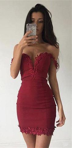 2018 sexy short dark red party dress,off the shoulder prom dress, v-neck evening dress