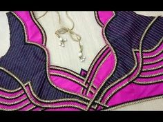 Simple Designer blouse cutting and stitching # pattern 95 Pattu Saree Blouse Designs, Blouse Designs Silk, Designer Blouse Patterns, Bridal Blouse Designs, Dress Designs, Patch Work Blouse Designs, Simple Blouse Designs, Blouse Back Neck Designs, Sari Design